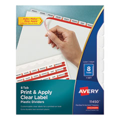 Avery 11450: PRINT APPLY INDEX MAKER CLEAR LABEL PLASTIC DIVIDERS with PRINTABLE LABEL STRIP, 8-TAB, 11 x 8.5, TRANSLUCENT, 1 SET