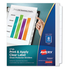 Avery 75501: PRINT APPLY INDEX MAKER CLEAR LABEL SHEET PROTECTOR DIVIDERS with WHITE TABS, 8-TAB, 11 x 8.5, CLEAR, 1 SET