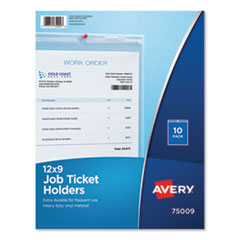 Avery 75009: Job Ticket Holders, Heavy Gauge Vinyl, 9 x 12, Clear, 10 / pack