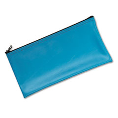 MMF Industries 2340416W38: Leatherette Zippered Wallet, Leather-Like Vinyl, 11w x 6h, Marine Blue