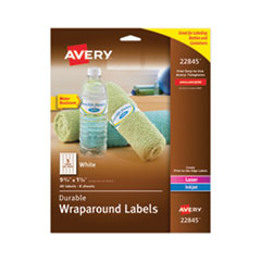 Avery 22845: WATER-RESISTANT WRAPAROUND LABELS with SURE FEED, 9 3/4 x 1 1/4, WHITE, 40 / PACK