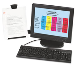 3M DH445: Clip Copyholder, Flat Panel Monitor Mount, Plastic, Holds 35 Sheets, Black / clear