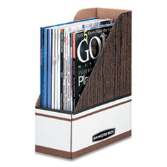 Bankers Box 07224: Corrugated Cardboard Magazine File, 4 x 11 x 12 3/4, Wood Grain, 12 / carton