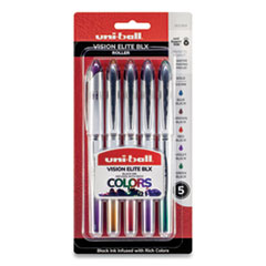 uni-Ball 1832404: Vision Elite Blx Series Stick Roller Ball Pen, 0.8Mm, Assorted Ink / Barrel, 5 / Pack