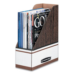 Bankers Box 07223: Corrugated Cardboard Magazine File, 4 x 9 x 11 1/2, Wood Grain, 12 / carton