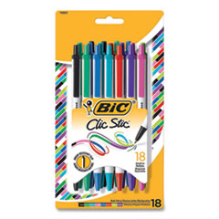 BIC 256718: Clic Stic Retractable Ballpoint Pen, Medium 1 Mm, Assorted Ink, White Barrel, 18 / Pack