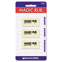 Sanford 70503: Magic Rub Eraser Lead Pencil Eraser Non-marring, Non-smudge, Smear Resistant Vinyl 3 / Pack White