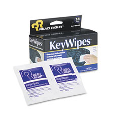 Read Right RR1233: Keywipes Keyboard Hand Cleaner Wet Wipes, 5 x 6 7/8, 18 / box