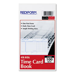 Rediform 4K406: Employee Time Card, Daily, Two-Sided, 4-1/4 x 7, 100 / pad