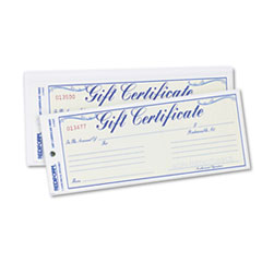 Rediform 98002: Gift Certificates with envelopes, 8-1/2w x 3-2/3h, Blue / gold, 25 / pack