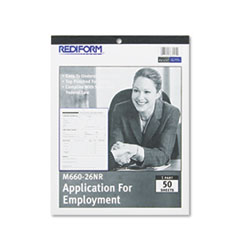Rediform M66026NR: Employment Application, 8 1/2 x 11, 50 Forms