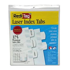 Redi-Tag 39017: Laser Printable Index Tabs, 1/5-Cut Tabs, White, 1.13 Wide, 375 / Pack