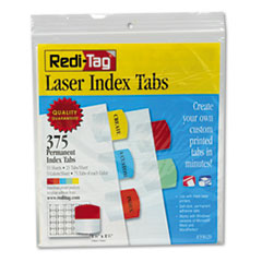 Redi-Tag 39020: Inkjet Printable Index Tabs, 1/5-Cut Tabs, Assorted Colors, 1.13 Wide, 375 / Pack