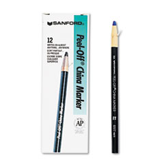 Sanford 2072: Peel-Off Paper China Markers Blue Lead Blue Barrel 1 Dozen