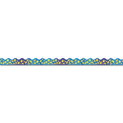 Trend T92001: Star Bright Board Trimmers Rectangle with Scalloped Trim Shape Pin-up 2.25 Width x 468 Length Blue, Yellow Paper 1 Pack