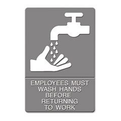 Quartet 4726: Ada Sign, Employees Must Wash Hands... Tactile Symbol / braille, 6 x 9, Gray