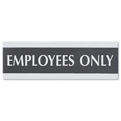US Stamp & Sign 4760: Century Series Office Sign, Employees Only, 9 x 3, Black / silver
