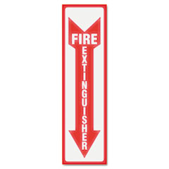 US Stamp & Sign 4793: Glow In The Dark Sign, 4 x 13, Red Glow, Fire Extinguisher