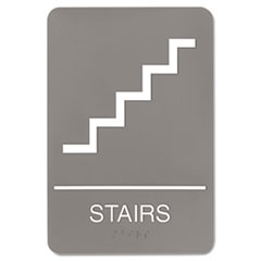 Quartet 5401: ADA Plastic Stairs Sign 1 Each Stairs Print / Message 6 Width x 9 Height Rectangular Shape Self-adhesive Plastic White
