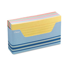 Mead 63036: Index Cards with Tray, Ruled, 3 x 5, Assorted Colors, 150 / Pack