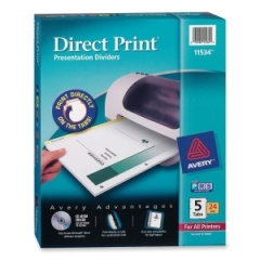 Avery 11534: Direct Print Custom Laser Divider Letter 8.50 Width x 11 Length White Divider 24 / Box