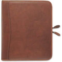 Day-Timer 81844: Aviator Leather Zip Organizer Starter Set Monthly 8 1/2 x 11 7-ring Dark Tan Leather, Vinyl