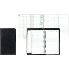 Day-Timer 85151: Verona Leather Organizer Starter Set Monthly 3 1/2 x 6 1/2 Black Vinyl Pocket, Phone Directory, Notepad