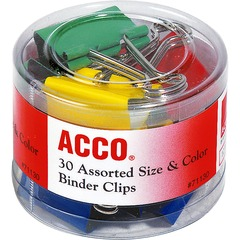 ACCO 71130: ACCO Binder Clips, Assorted Sizes Colors, 30 / Pack Reusable, Rust Resistant, Scratch Resistant 30 / Pack Assorted Plastic, Tempered Steel