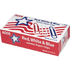 ACCO 72542: ACCO Nylon Coated Paper Clips, Smooth Finish, Jumbo Size, Red, White Blue, 150 / Box Jumbo 20 Sheet Capacity Snag Resistant, Reusable, Durable 150 / Box Red, White, Blue Nylon, Wire