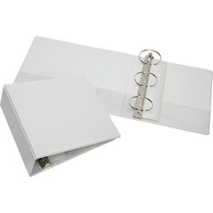 Skilcraft 5104866: Rigid Loose-leaf 3-Ring Binder 3 Binder Capacity Letter 8 1/2 x 11 Sheet Size 3 x Round Ring Fastener s Inside Front Back Pocket s Vinyl White Recycled Clear Overlay, Heavy..