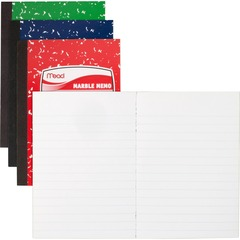 Mead 45417: Square Deal Colored Memo Book 80 Sheets Tape Bound 3 1/2 x 4 1/2 Assorted Cover Marble 1Each