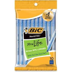 BIC GSMP101BE: Round Stic Ballpoint Pens Medium Pen Point Blue 12 / Pack