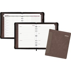 Day Runner 3070304: Harrison Day Planner 1 Year 8 1/2 x 11 3-ring Zippered Closure Brown Card Slot, Business Card Holder, Pen Loop, Pocket, Notepad, Phone Directory, Pouch