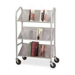 Buddy Products 54143: Sloped Shelf Book Cart with Dividers 3 Shelf 4 Casters 4 Caster Size Steel 26 Width x 16 Depth x 41.5 Height Silver
