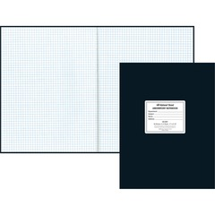 National Brand 43591: Quad Ruled Laboratory Notebook 60 Sheets 8 1/2 x 11 White Paper Black Cover Hard Cover, Heavyweight Recycled 1Each