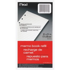 Mead 46534: Memo Book Refill Pages 80 Sheets 3 3/4 x 6 3/4 White Paper Assorted Cover 1Each