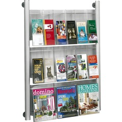 Safco 4134SL: Luxe 9 Pocket Magazine Wall Rack 9 x Magazine, 18 9 Pocket s 9 Compartment s 9 Divider s 41 Height x 31.8 Width x 5 Depth Floor Silver Frame Acrylic, Aluminum 1 Each