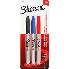 Sharpie 30173PP: Pen-style Permanent Marker Fine Marker Point Black, Blue, Red Alcohol Based Ink 3 / Pack