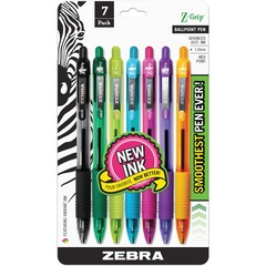 Zebra Pen 22276: Z-Grip Retractable Ballpoint Pens Medium Pen Point 1 mm Pen Point Size Retractable Assorted Assorted Barrel 7 / Pack