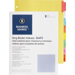 Business Source 36693: Insertable Tab Ring Binder Indexes 8 Blank Tab s 1.50 Tab Width 8.5 Divider Width x 11 Divider Length Letter 3 Hole Punched Multicolor Tab s 8 / Set