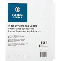 Business Source 16484: 3-Hole Punched Laser Index Tabs 8 x Divider s 8 Tab s / Set 3 Hole Punched White Tab s 8 / Set