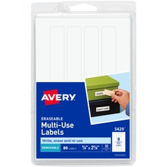 Avery 5429: Erasable Multi-Use Labels Permanent Adhesive 7/8 Width x 2 7/8 Length Rectangle White 80 / Pack