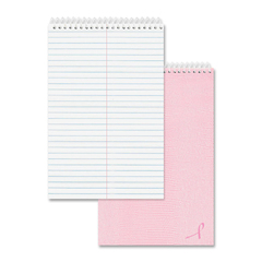 National Brand 36647: Pink Ribbon Steno Book 60 Sheets Wire Bound 6 x 9 White Paper Pink Cover Card Stock Cover Ribbon Marker Recycled 1Each