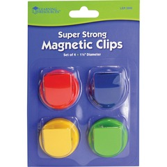 Learning Resources LER2692: Super Strong Magnetic Clips Set 1.5 Diameter 50 Sheet Capacity for Whiteboard, Folder 4 / Pack Assorted