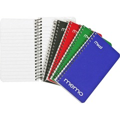 Mead 45534: Wirebound Memo Notebook 60 Sheets Wire Bound 15 lb Basis Weight 3 x 5 White Paper Black Binder Assorted Cover Cardboard, Nylon Cover Stiff-back