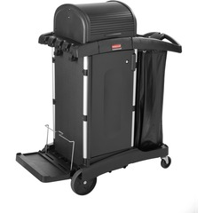 Rubbermaid 9T7500: High Security Cleaning Cart Aluminum, Plastic x 22 Width x 48.3 Depth x 53.5 Height Black 1 Each
