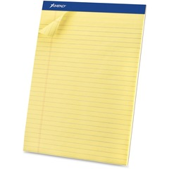 Ampad 20260: Basic Perforated Writing Pads Legal 50 Sheets Stapled 0.34 Ruled 15 lb Basis Weight 8 1/2 x 11 1/2 8.5 11.8 Canary Yellow Paper Dark Blue Binder Sturdy Back, Chipboard Backing,..