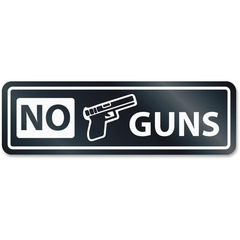US Stamp & Sign 9436: No Guns Window Sign 1 Each NO GUNS Print / Message Rectangular Shape Self-adhesive, Removable White, Clear