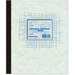 Roaring Spring 77645: Side Bound Lab Notebook 50 Sheets Stapled / Tapebound Quad Ruled 4 Horizontal Squares 4 Vertical Squares 15 lb Basis Weight 9 1/4 x 11 Yellow / White Paper Gray Cover Pressboard