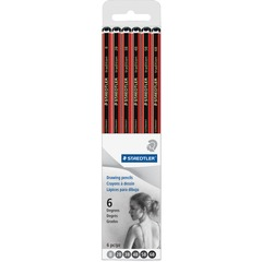 Staedtler 110SCB6A6: Tradition Drawing Pencils 6B, 5B, 4B, 3B, 2B, B Lead Red Wood, Black Barrel 6 / Set